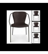 Fauteuil Adele pieds noirs simili noir (L.56xP.57xH.73cm) - Opjet