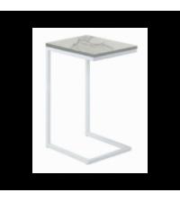 Bout de canape metal blanc et plateau effet marbre (30x40xH.60cm) - Opjet