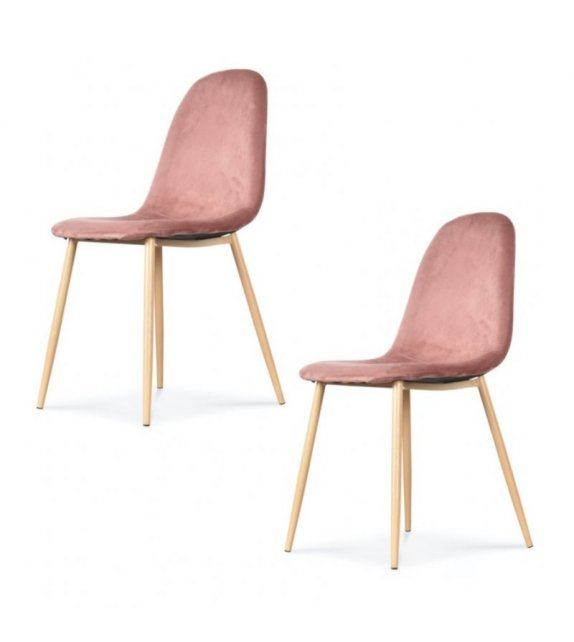 Chaise josef pieds bois velours rose - Opjet